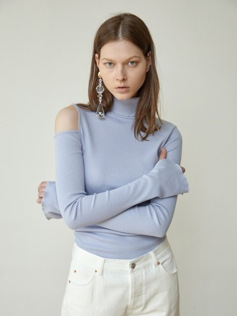 18FW OPEN-BACK ROLL-NECK JERSEY TOP (LAVENDAR)