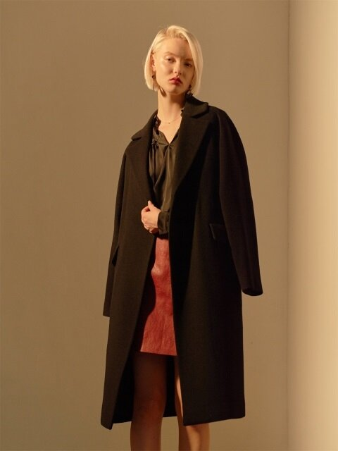 POINT POPPY BELT WOOL COAT