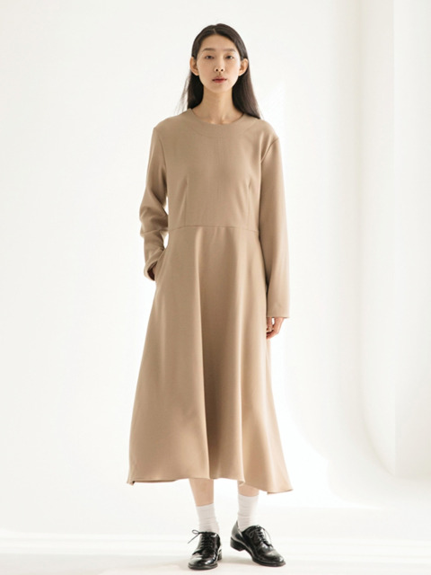 Heavy Weight Flared Dress - Beige