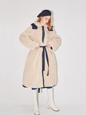 SAPPORO reversible hoodie coat (Navy & Cream)