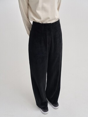 corduroy wide pants_black