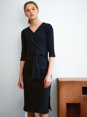 Wrap jersey dress, navy