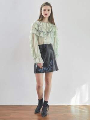 19spring leather A-line skirt black