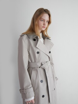 19' SPRING_Light Beige Double-Breasted Trench Coat