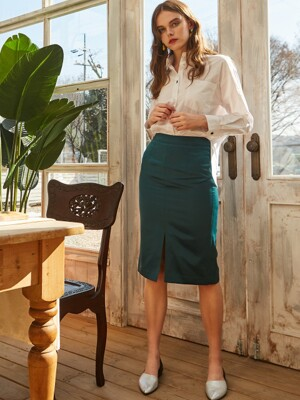 SATIN H-LINE SKIRT GREEN