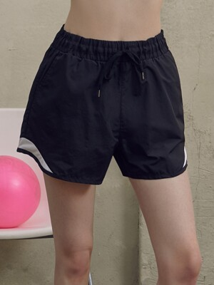 (PT-19161) COLOR BLOCK SHORT PANTS BLACK