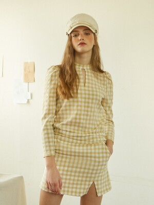 Gingham Check Skirt_ Beige