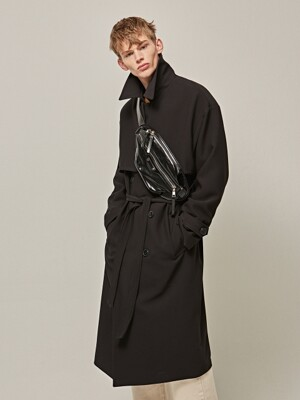 MANNISH OVER TRENCH COAT_BLACK