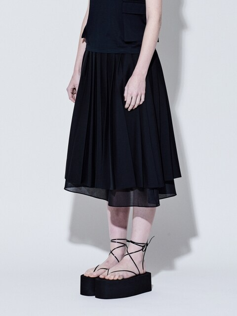 19SS DOUBLE PLEATS SKIRT