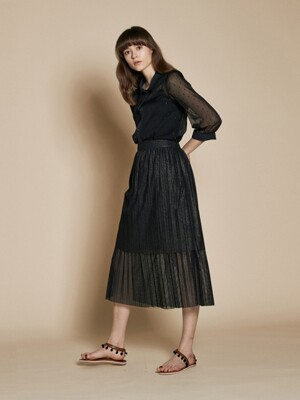 Sparkle Pleats Long Skirt_Black