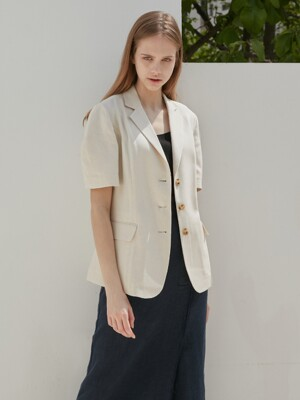 LINEN SINGLE JACKET_BEIGE