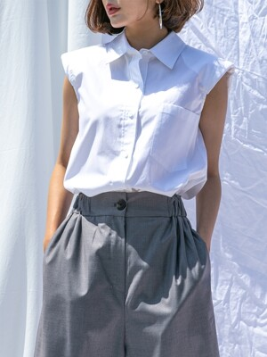 Pad Sleeveless Shirt_WHITE