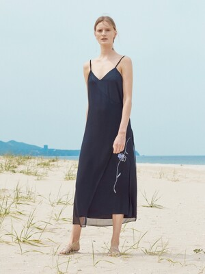 ROSE DRAWING UNBALANCE SLIP DRESS_BLACK