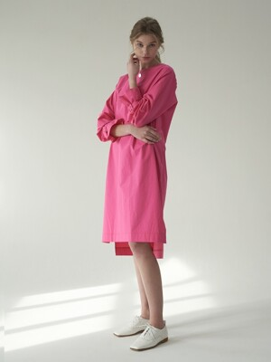 Sleeve buckle dress_Pink