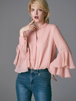 RUFFLE SLEEVES SHINING BLOUSE_PINK
