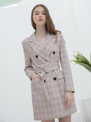 Check Jacket Belt Dress Pink