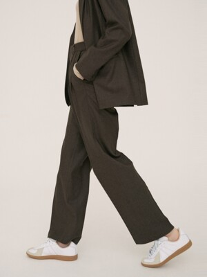Wool Pintuck Pants[Brown]