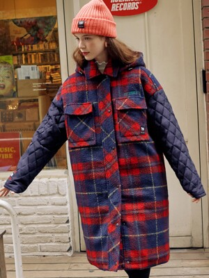 (CT-19703) CHECK SLEEVE QUILTING COAT NAVY