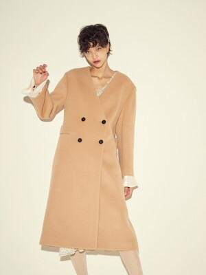 NO COLLAR LONG COAT - CAMEL/BLACK