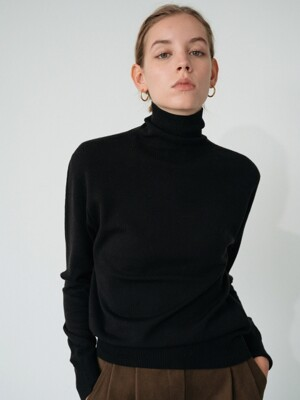 modern wool turtle-neck knit (black)