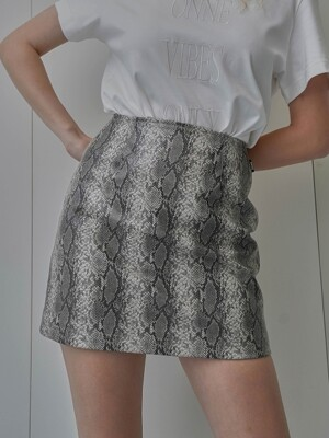 Python Faux Leather Skirt Grey