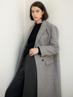 Wool Double-Breasted Long Coat - Grey