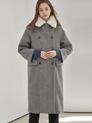 FUR DOUBLE LONG PEACOAT_GRAY