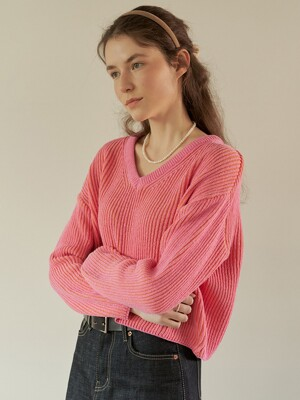 A TWO-TONE KNIT TOP_PINK