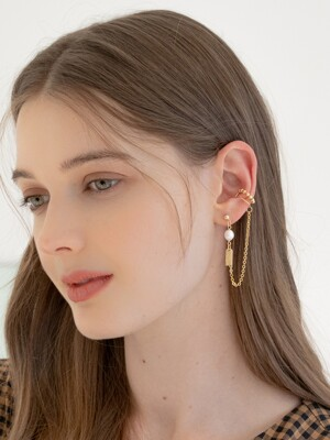 Modern ball earcuff earrings