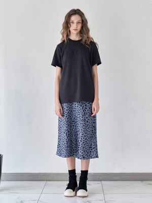 FOX LEOPARD SATIN SKIRT [BLUE]