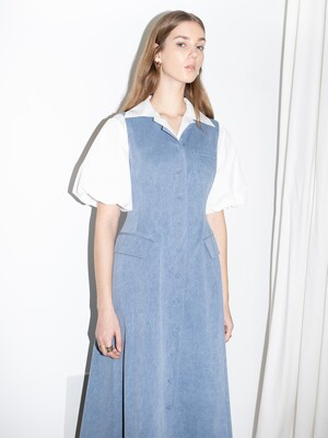 [20SS]LAKE WOOD round neck button down A line sleeveless dress (Blue jean)