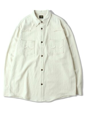2POCKET FRINGE SHIRTS [Ivory]