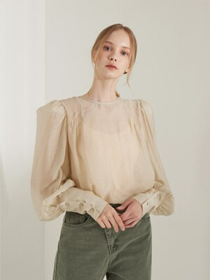 planet-21 pin tuck puff sleeve blouse_beige
