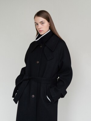 CASHMERE WOOL SINGLE COAT (BLACK)