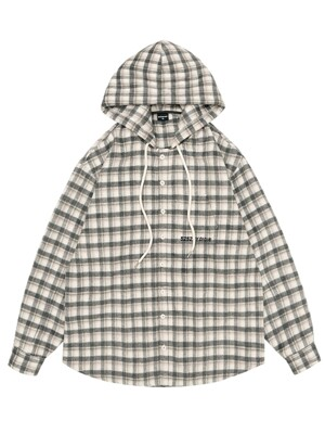 HOODED CHECK SHIRTS [IVORY CHECK]