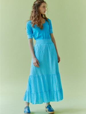 Gingham Smocked tiered skirt