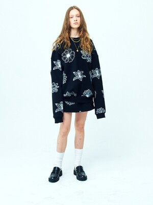OVERSIZED SWEATSHIRT ALLFLOWERS BLACK