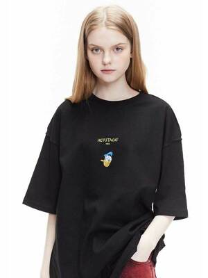 [ ORDINARYPEOPLE & DISNEY ] HERITAGE DONALD DUCK BLACK T-SHIRTS