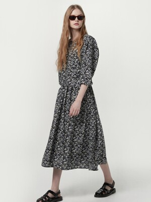 [단독] Printed shirring dress - Black flower
