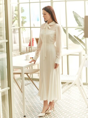 FREESIA Tie neck sheer mesh dress (Off white)