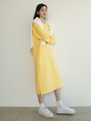 SIDE SLIT POCKET SWEAT DRESS 크림옐로우
