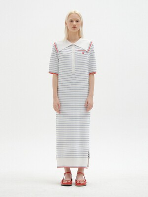 SAVONA Stripe Knit Maxi Dress - White/Blue Stripe