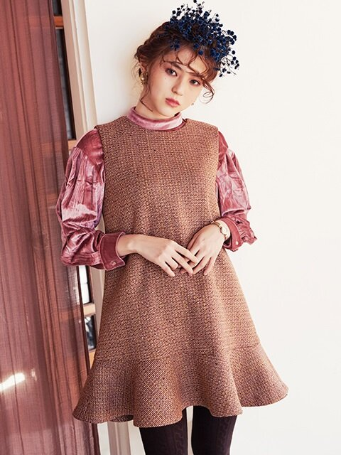 WOOL TWEED MINI DRESS_BURGUNDY