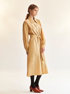 shirring-sleeve shirtdress_amber yellow