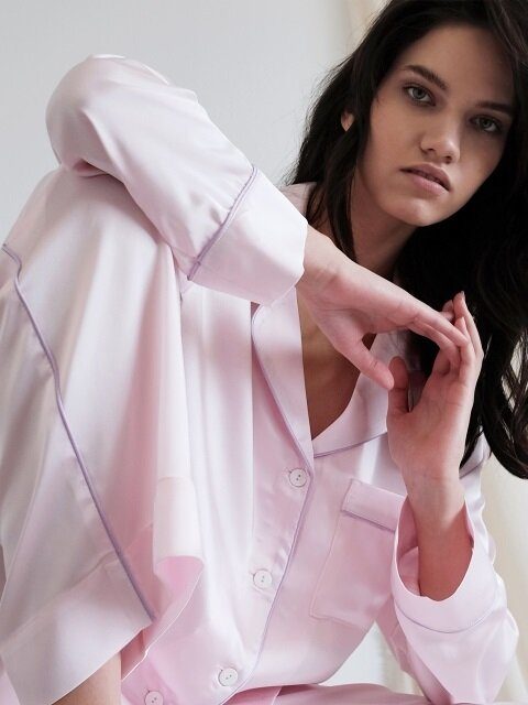 Pastel Long Sleeve PJ Shirt - Milky Pink