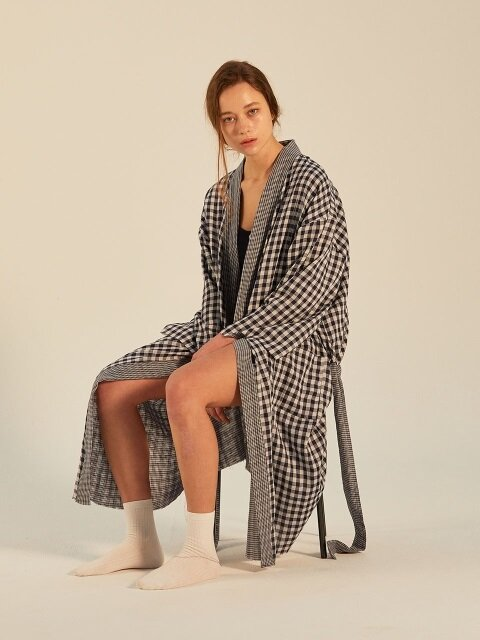DUAL CHECK GUAZE ROBE_NAVY
