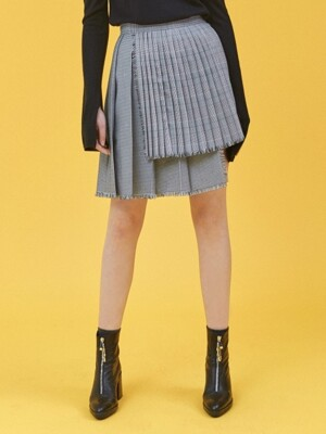 GLEN CHECK PLEATS SKIRT_BLACK(EEOG3SKR01W)