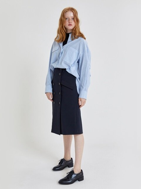 18' FALL_Blue Stripe Oversized Shirt