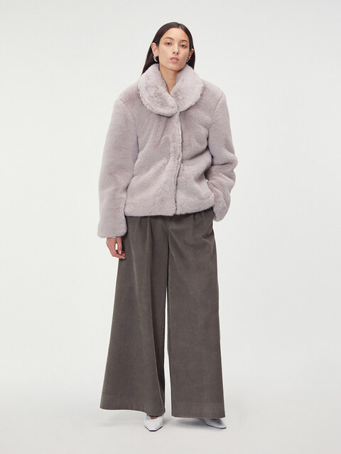 DETACHABLE COLLAR FAUX-FUR JACKET (LIGHT GREY)