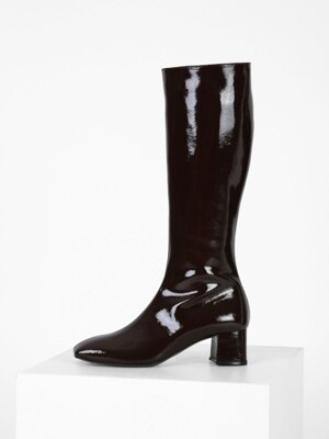 PATENT LONG BOOTS - BLACK